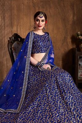 Royal-blue embroidered  art silk semi stitched lehenga