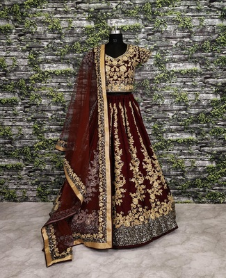 Maroon embroidered art silk semi stitched lehenga
