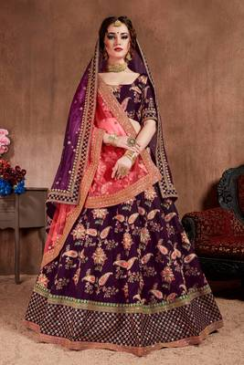 Dark-purple embroidered silk semi stitched lehenga
