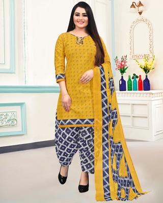Mustard geometric print blended cotton salwar