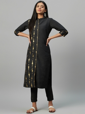 Black printed art silk kurtas-and-kurtis