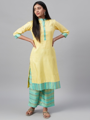 Yellow printed art silk kurtas-and-kurtis