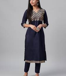 Navy-blue printed art silk kurtas-and-kurtis