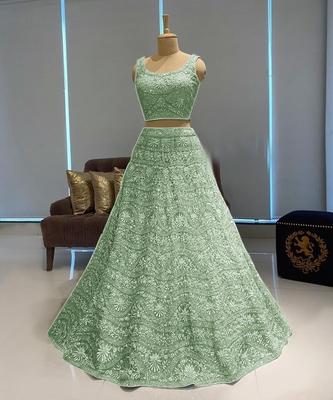 Light-green embroidered net semi stitched lehenga