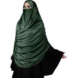 Women's Rama Color Satin Lycra Plain Long Chaderi Abaya Hijab With Naqab & Frills Style
