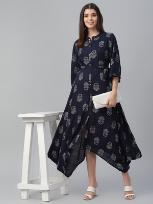 Hand Motif Printed Rayon Dress