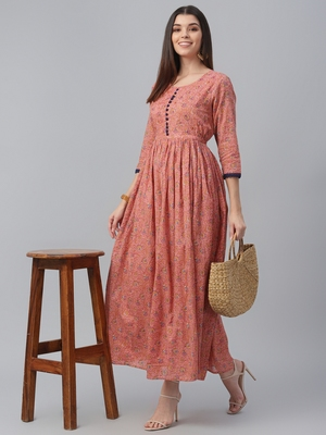 Voil Floral Printed Dress