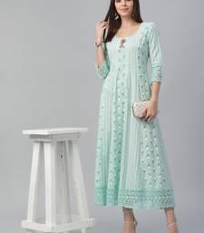 Cotton Slub Aqua Anarkali Dress