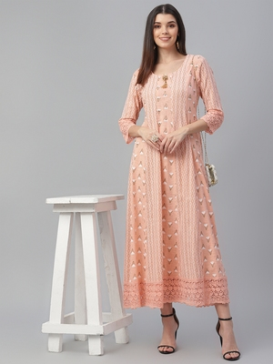 Cotton Slub Pink Anarkali Dress