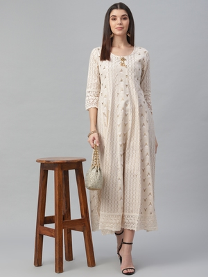 Cotton Slub White Anarkali Dress