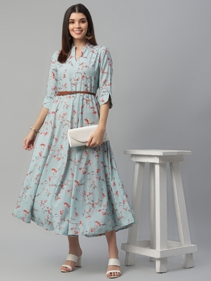 Rayon hightwist Printed Blue Dress