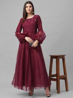 Foil Printed Organza Dress
