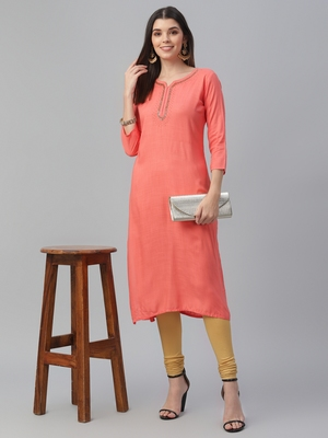 Hand Embroidered Rayon Slub Kurta