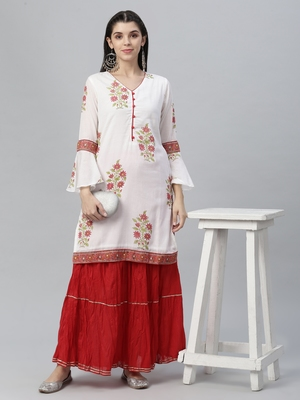Embroidered Kurta and Skirt Set