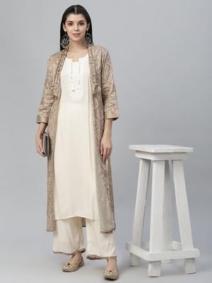 Printed Jamdani Silk Shrug, Rayon Kurta and Palazzo Set
