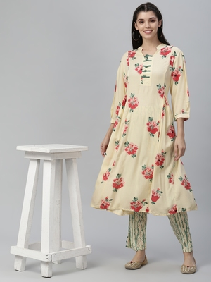 All Over Printed and Sequin Embroidered Rayon Kurta with Pants