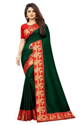 Dark green plain silk blend saree with blouse