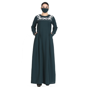 Embroidered Abaya With Matching Hijab