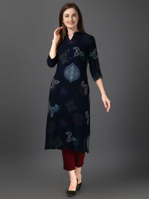 Women's Navy Blue Rayon Bandhni Printed Straight Kurta