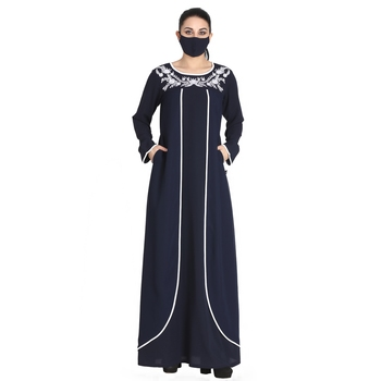 Embroidered Abaya With Matching Hijab