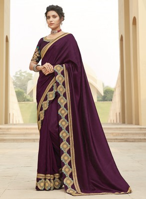 Wine embroidered satin saree with blouse