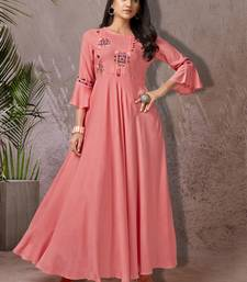 Peach embroidered rayon long-kurtis