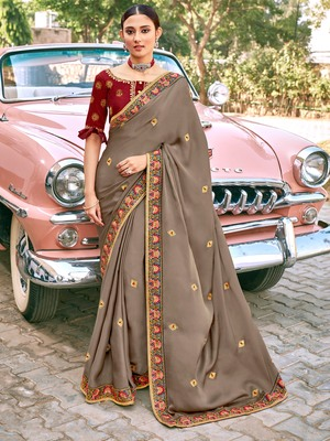 Light brown embroidered satin saree with blouse