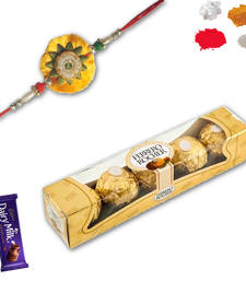 Buy 5 Pc Ferrero Rocher with Velvet Zardoshi Rakhi zardosi-rakhi online