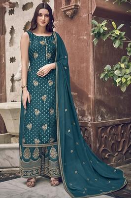 Teal embroidered jacquard salwar