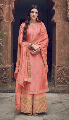 Peach embroidered jacquard salwar