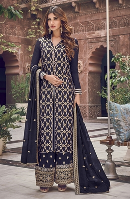 Navy-blue embroidered jacquard salwar