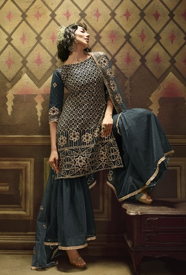 Teal embroidered net salwar