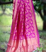 Buy Pink woven banarasi silk saree with blouse