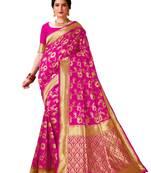 Buy Pink woven banarasi silk saree with blouse