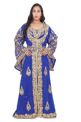 Moroccan Dubai Kaftan Evening Royal Blue Georgette Aari Stone Work