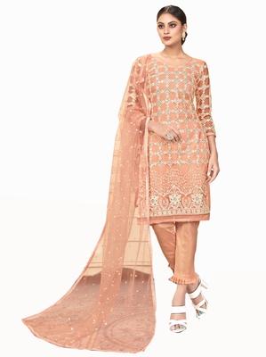 Peach embroidered net salwar
