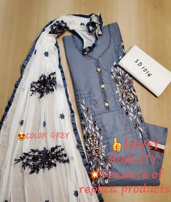 Grey embroidered pure cotton salwar