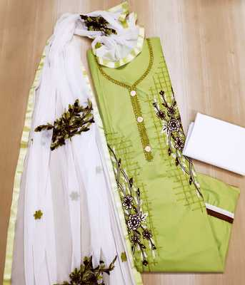 Parrot-green embroidered pure cotton salwar