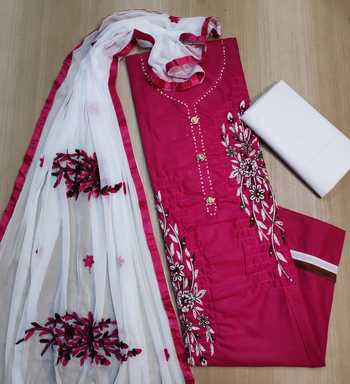 Red embroidered pure cotton salwar