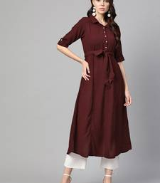 Myshka Women's Wine Polyester Solid Half Sleeve Casual Kurta