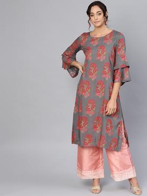 Myshka Women's Grey Rayon Printed 3/4 Sleeve Round Neck Dress