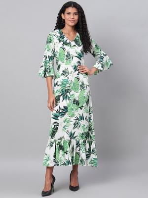 Myshka Women's Green Printed 3/4 Sleeve Polyester V Neck Casual Kurta