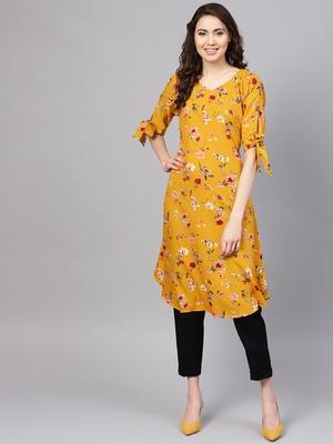 Myshka Women's Yellow Crepe Printed Half Sleeve V - Neck Casual Kurta