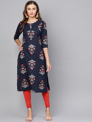 Myshka Women's Black Cotton Printed Half Sleeve Round Neck Casual Kurta