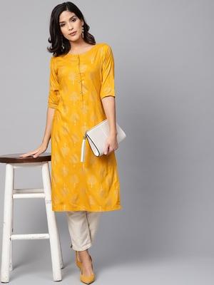 Myshka Women's Yellow Rayon Solid Half Sleeve Round Neck Casual Kurta