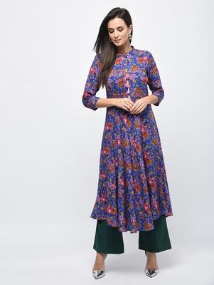 Myshka Women's Multicolor Rayon Printed Regular Sleeves Collared Neck Casual Kurta