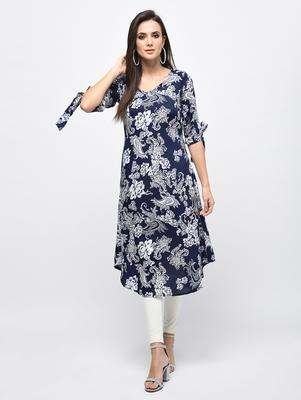 Myshka Women's Blue Polyester Printed Regular Sleeves V - Neck Casual Kurta