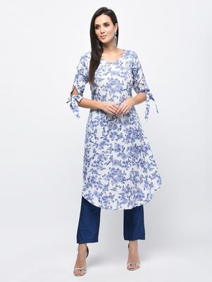 Myshka Women's Light Blue Polyester Printed Regular Sleeves V - Neck Casual Kurta