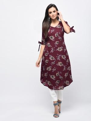 Myshka Women's Maroon Polyester Printed Regular Sleeves V - Neck Casual Kurta