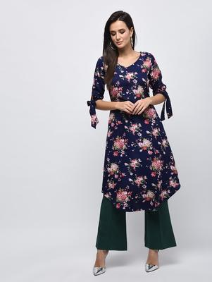 Myshka Women's Dark Blue Polyester Printed Regular Sleeves V - Neck Casual Kurta